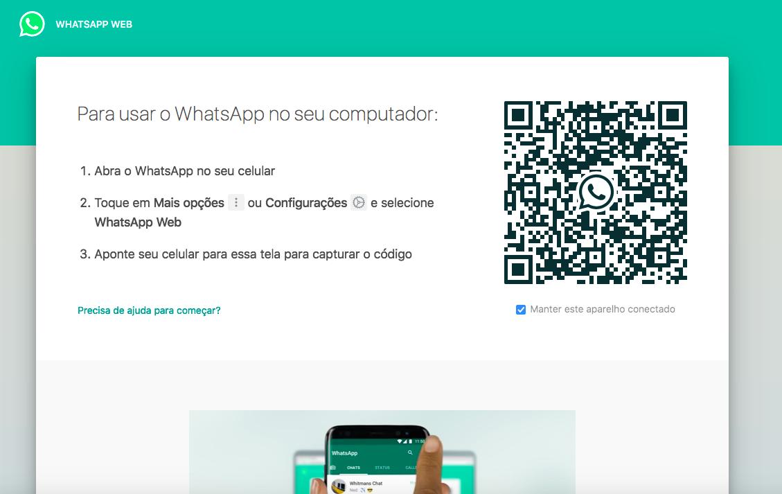 tela acesso whatsap web qr code
