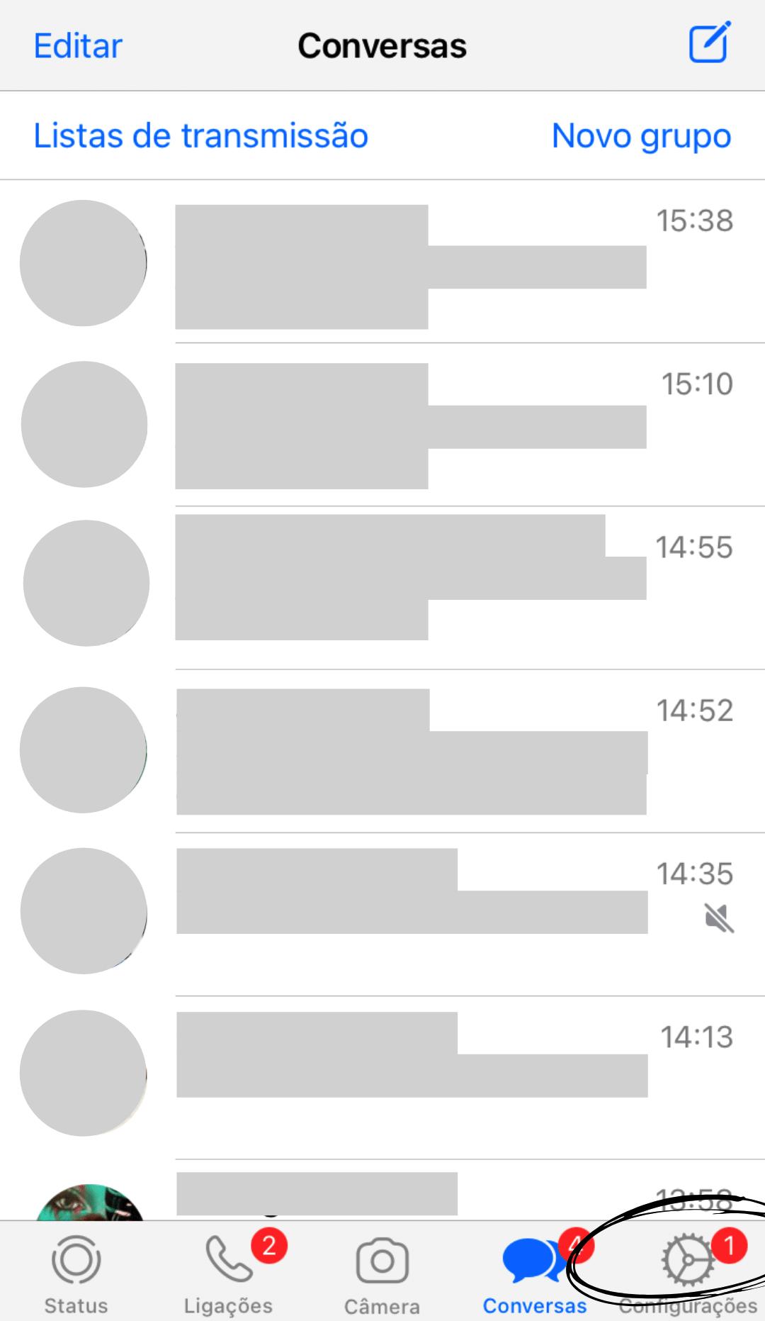 tela inicial whatsapp iphone